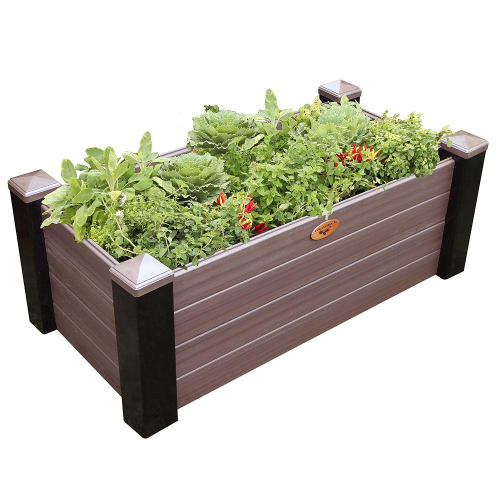 Gronomics Maintenance Free Raised Garden Bed 24 Inch x48 Inch x18 Inch - 16 Inch D Black/ Walnut