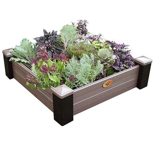 Jardinière en hauteur sans entretien de 91cm x 91cm x 25cm Noir / Noyer