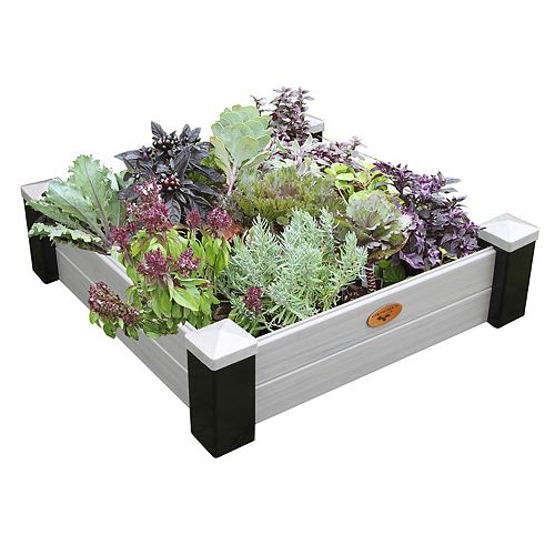 Jardinière en hauteur sans entretien de 91cm x 91cm x 25cm Noir / Gris