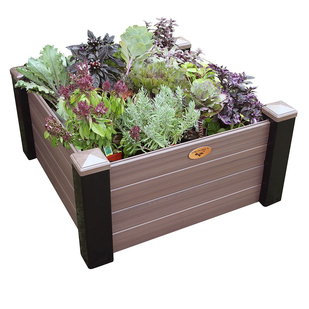 Gronomics Maintenance Free Raised Garden Bed 36 Inch x36 Inch x18 Inch - 16 Inch D Black/ Walnut