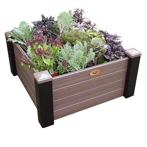 Jardinière en hauteur sans entretien de 91cm x 91cm x 45cm Noir / Noyer