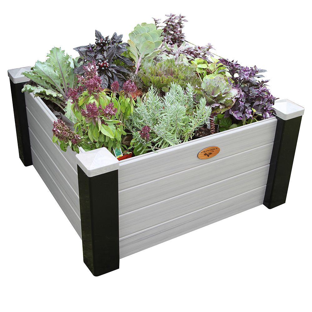 Gronomics Maintenance Free Raised Garden Bed 36 Inch x36 Inch x18 Inch - 16 Inch D Black/ Gray
