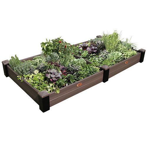 Jardinière en hauteur sans entretien de 121cm x 231cm x 25cm Noir / Noyer