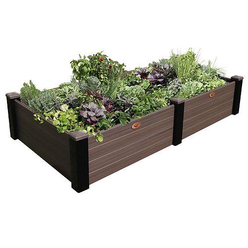 Jardinière en hauteur sans entretien de 121cm x 231cm x 45cm  Noir / Noyer