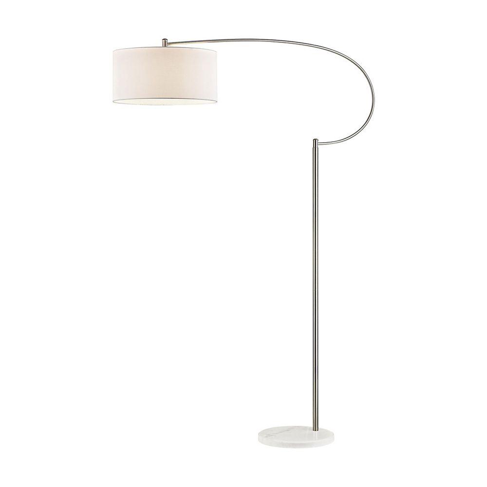 Titan Lighting Whitecrane 72 inch 1 Light Floor Lamp In Satin Nickel And White