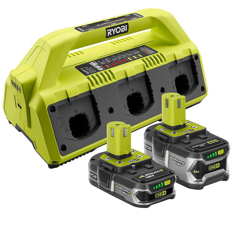 RYOBI 18V ONE+ SuperCharger Kit with (2) Lithium-Ion Batteries