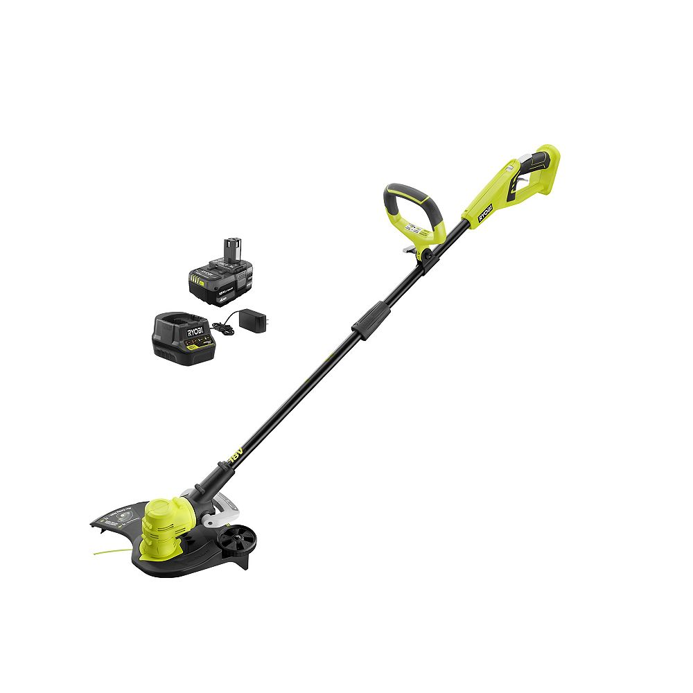 RYOBI 18V ONE+ Lithium-Ion Cordless String Trimmer/Edger with 4.0 Ah Battery and Charger