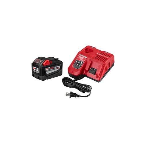 Milwaukee Tool M18 18V Lithium-Ion High Demand (HD) 9.0 Ah REDLITHIUM Battery and Rapid Charger Starter Kit