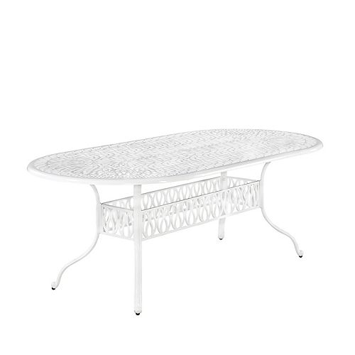 Floral Blossom Oval Patio Dining Table in White