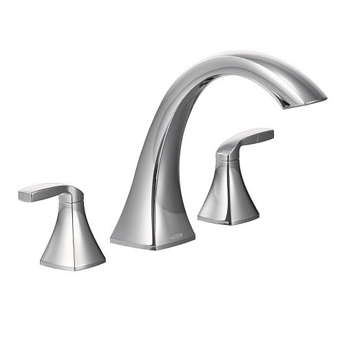 Voss 2-Handle Deck-Mount High-Arc Roman Tub Faucet Trim Kit in Chrome (Valve Not Included)