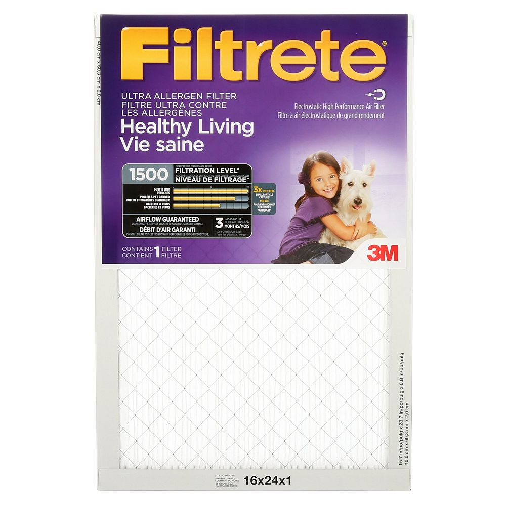 Filtrete Filters 16-inch x 24-inch x 1-inch Healthy Living MPR 1500 Ultra Allergen Furnace Filter