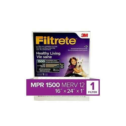 16-inch x 24-inch x 1-inch Healthy Living MPR 1500 Ultra Allergen Furnace Filter