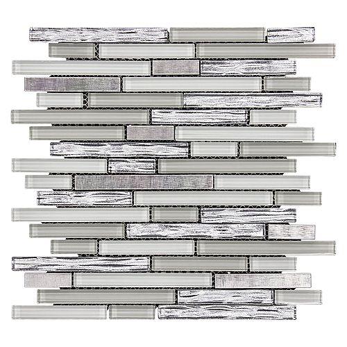 Jeffrey Court Mosaïque de verre et métal, Tire fraîche, 8 mm, 12 x 12,25 po