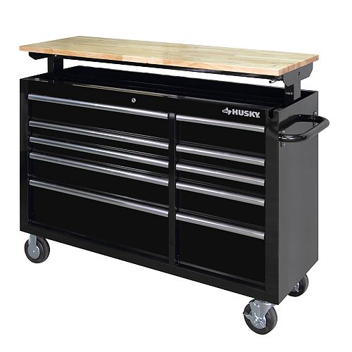 52-inch 10-Drawer Mobile Tool Storage Cabinet Workbench with Adjustable-Height Wood Top in Black