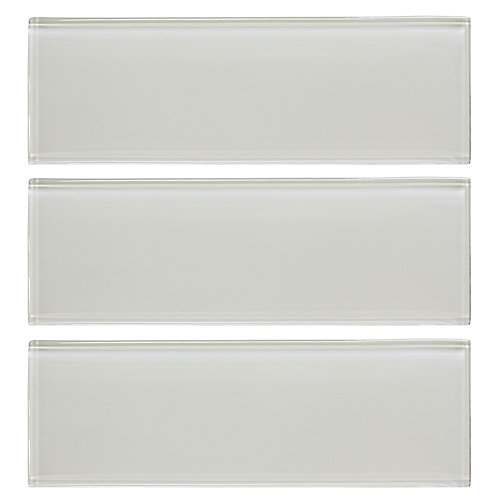 Carreau de verre mural, Super blanc, 8 mm, 4 po x 12 po, 1 paquet/3 pièces/1 pi²