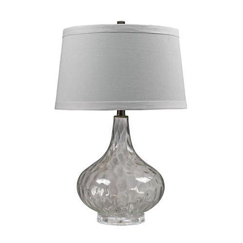 Lampe de table de 24po en verre martelé transparent comprend un abat-jour en lin blanc