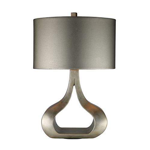 Lampe de table Carolina de 26po au fini feuille dargent avec abat-jour métallique argenté