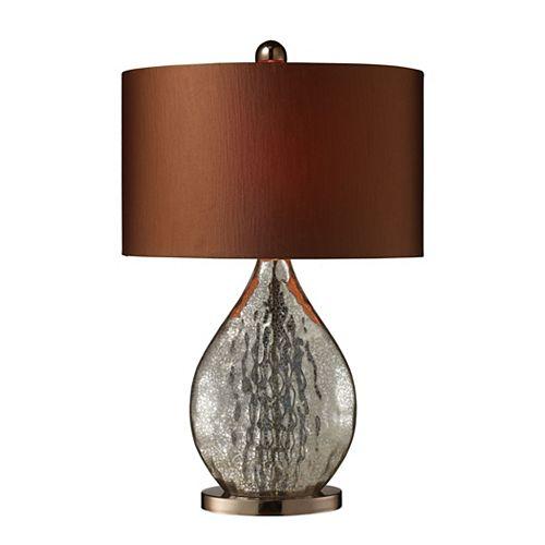 Lampe de table Sovereign de 23po en verre antique argenté et au fini café