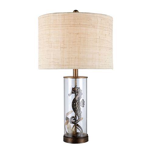 Lampe de table Largo de 26po en verre transparent et au fini bronze