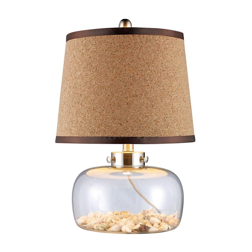 Titan Lighting Lampe de table Margate de 20po en verre transparent avec coquillages, abat-jour en liège naturel