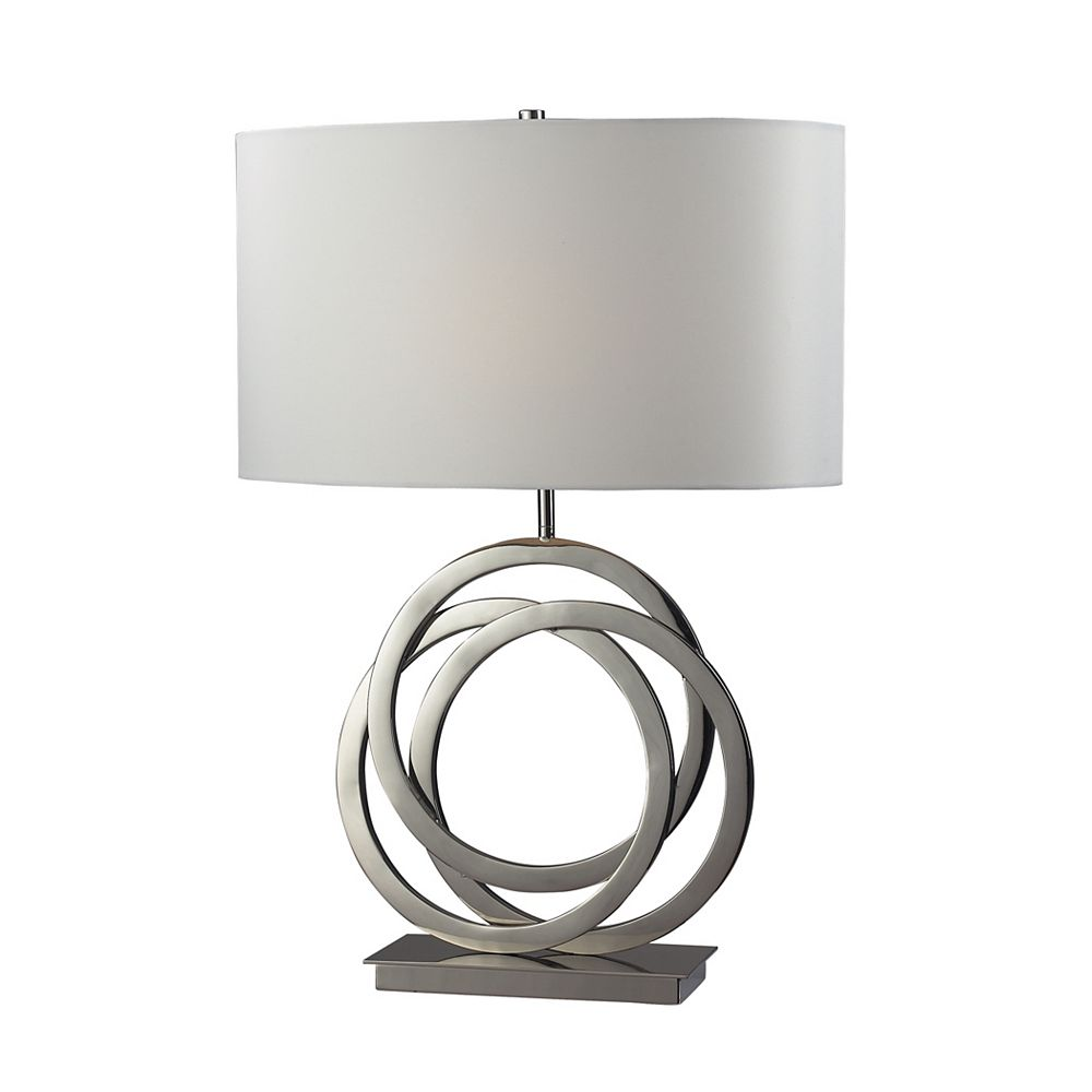 Titan Lighting Trinity 25 Inch Table Lamp In Polished Nickel With Pure White Shade