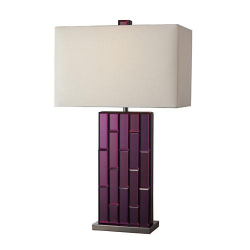 Lampe de table Avalon de 27po au fini nickel noir et miroir mauve