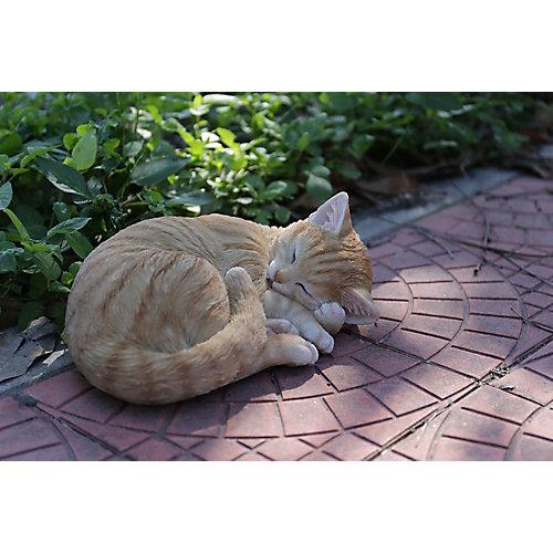 Lying Cat Sleeping Orange Tabby Statue