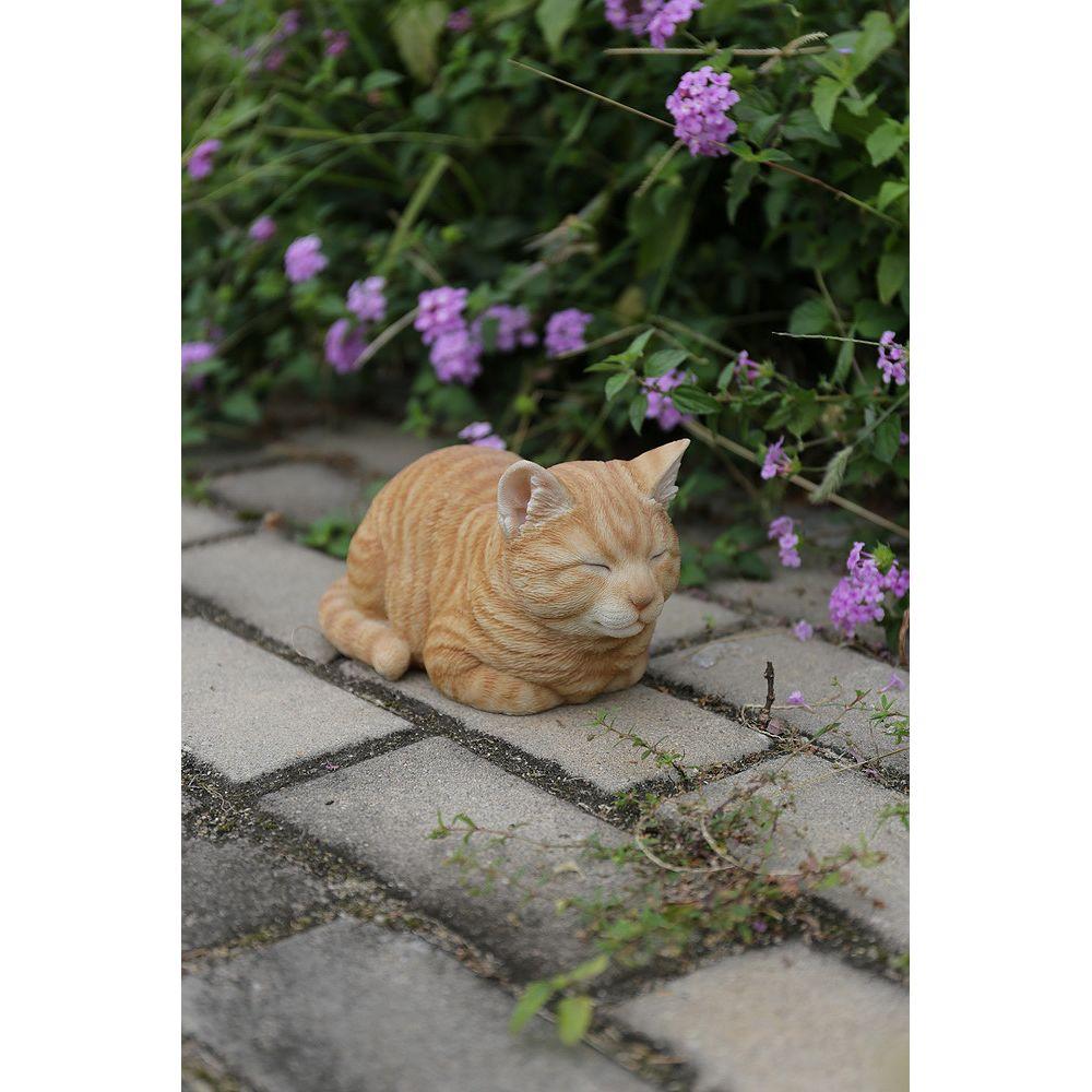 Hi-Line Gift Orange Tabby Sleeping Cat Statue