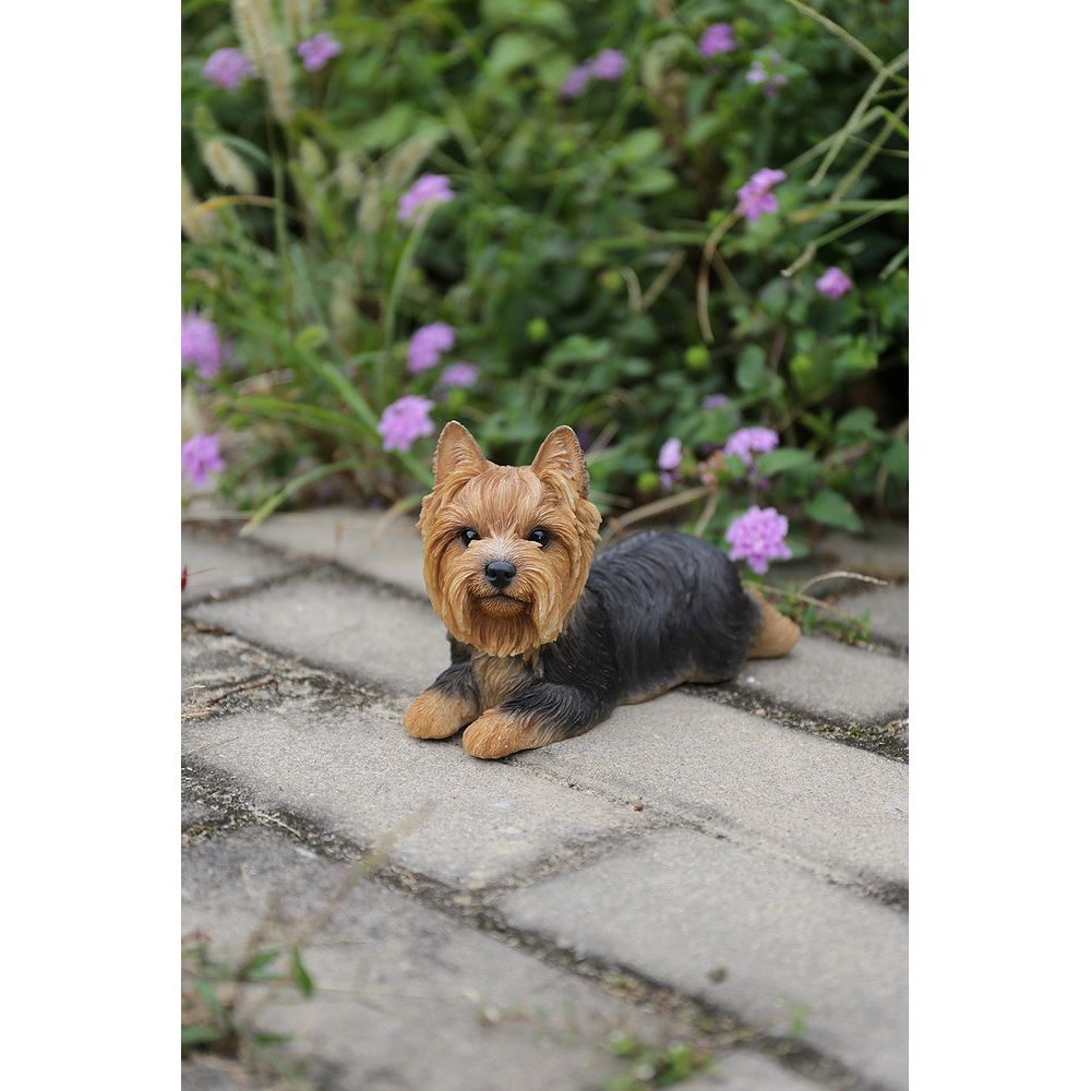 Hi-Line Gift Yorkshire Terrier Dog Lying Down Statue