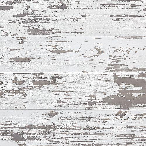 Planches murales blanches d'aspect vieillio brossée a sec