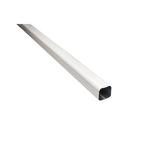 Tuyau de descente, 3 po x 3 po x 10 pi, aluminium, blanc