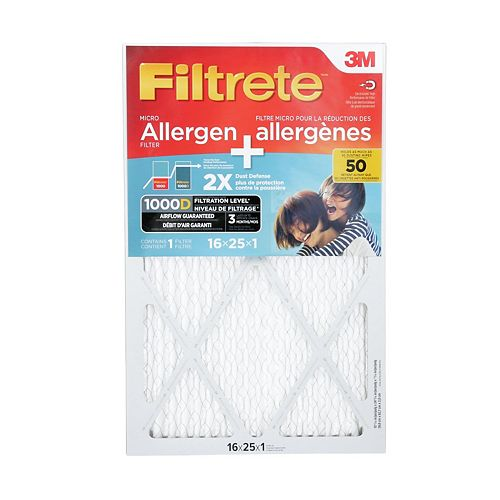 16 inch x 25 inch x 1 inch Dual-Action Micro Allergen Plus 2X Dust defence Filter