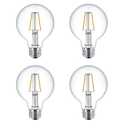 Philips Ampoule DEL à filament G25, équivalence de 60 W, transparent, ens. de 4
