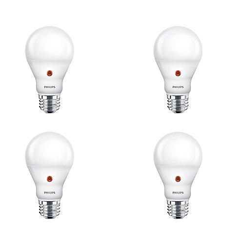8W=60W Dusk to Dawn Soft White A19 LED Light Bulb (4-pack)