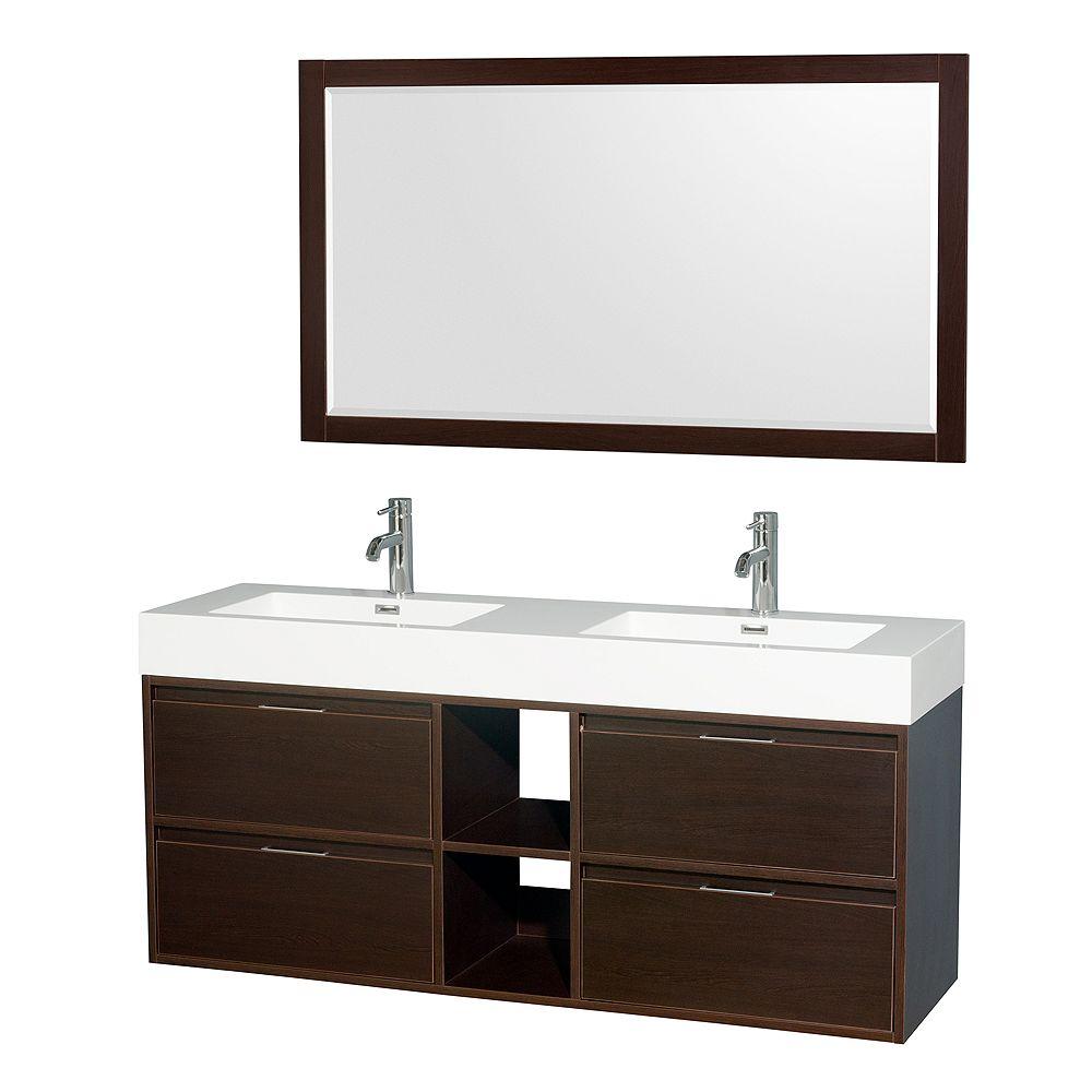 """Wyndham Collection Meuble s. bains dbl Daniella 60"""" espresso, comptoir résine acrylique, éviers intégrés, miroir 58"""""""