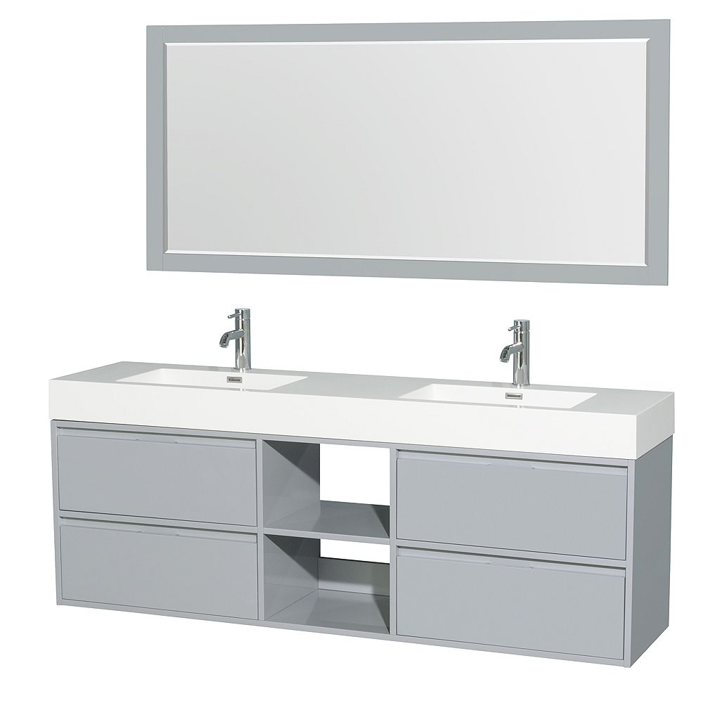 Wyndham Collection Daniella 72-inch W 4-Drawer Wall Mounted Vanity in Grey With Acrylic Top in White, Double Basins