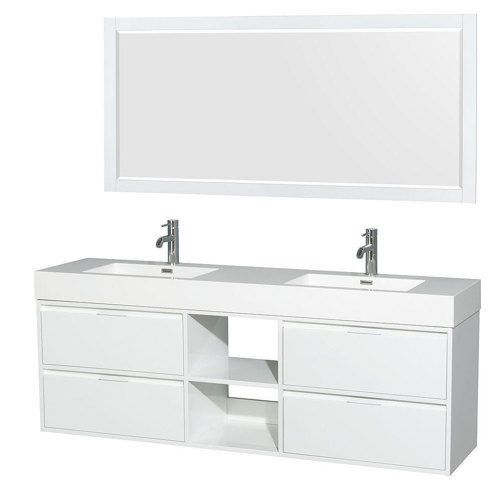"Wyndham Collection Meuble sdb dbl Daniella 72""blanc brillant, comptoir résine acryl, éviers Intégrés, miroir 70"""