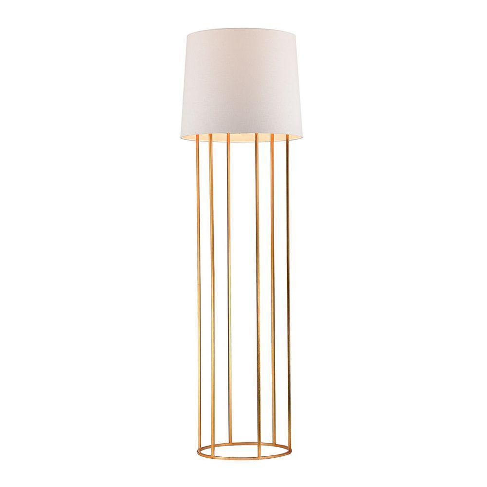 Titan Lighting Lampe à pied de 63po avec barreaux et au fini feuille dor