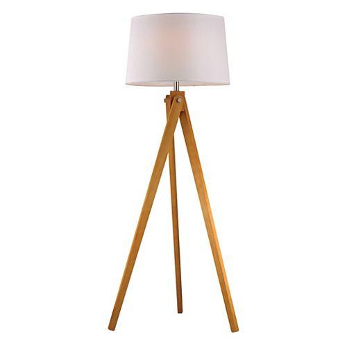 Lampe trépied en bois de 63po au fini bois naturel