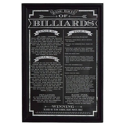 Billiard Game Rules Wall Art