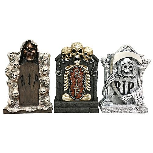 22-inch Lighted Tombstone Halloween Decoration (Assorted Styles)