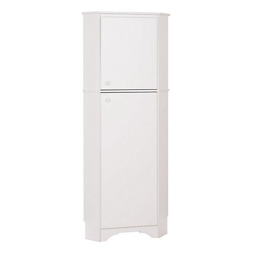 Elite 72-inch x 29-inch x 19-inch 2-Door Corner Storage Cabinet in White