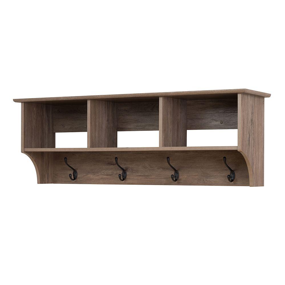 Prepac 48 Inch Wide Hanging Entryway Shelf, Drifted Gray