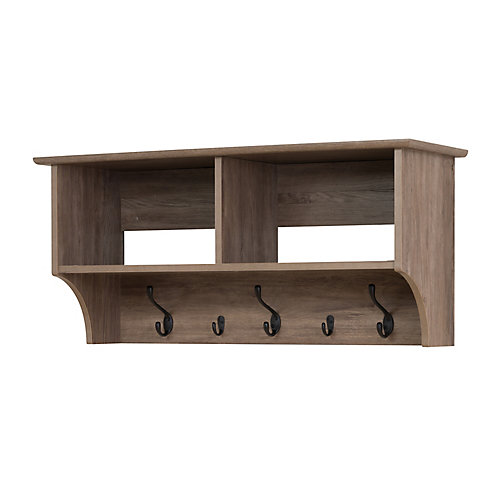 36 Inch Wide Hanging Entryway Shelf, Drifted Gray