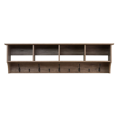 60 Inch Wide Hanging Entryway Shelf, Drifted Gray