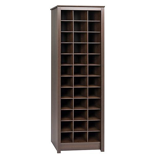 24-inch x 73-inch x 13-inch Space-Saving Shoe Storage Cabinet in Espresso