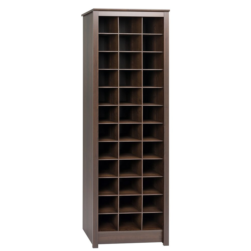 Prepac 24-inch x 73-inch x 13-inch Space-Saving Shoe Storage Cabinet in Espresso