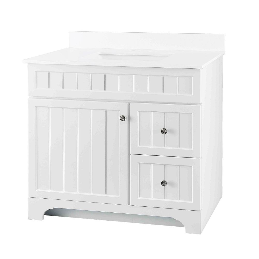 Glacier Bay Whitton 37-inch W 2-Drawer Vanity with Engineered Stone Top