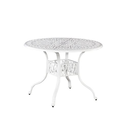 Floral Blossom 42-inch Round Patio Dining Table in White