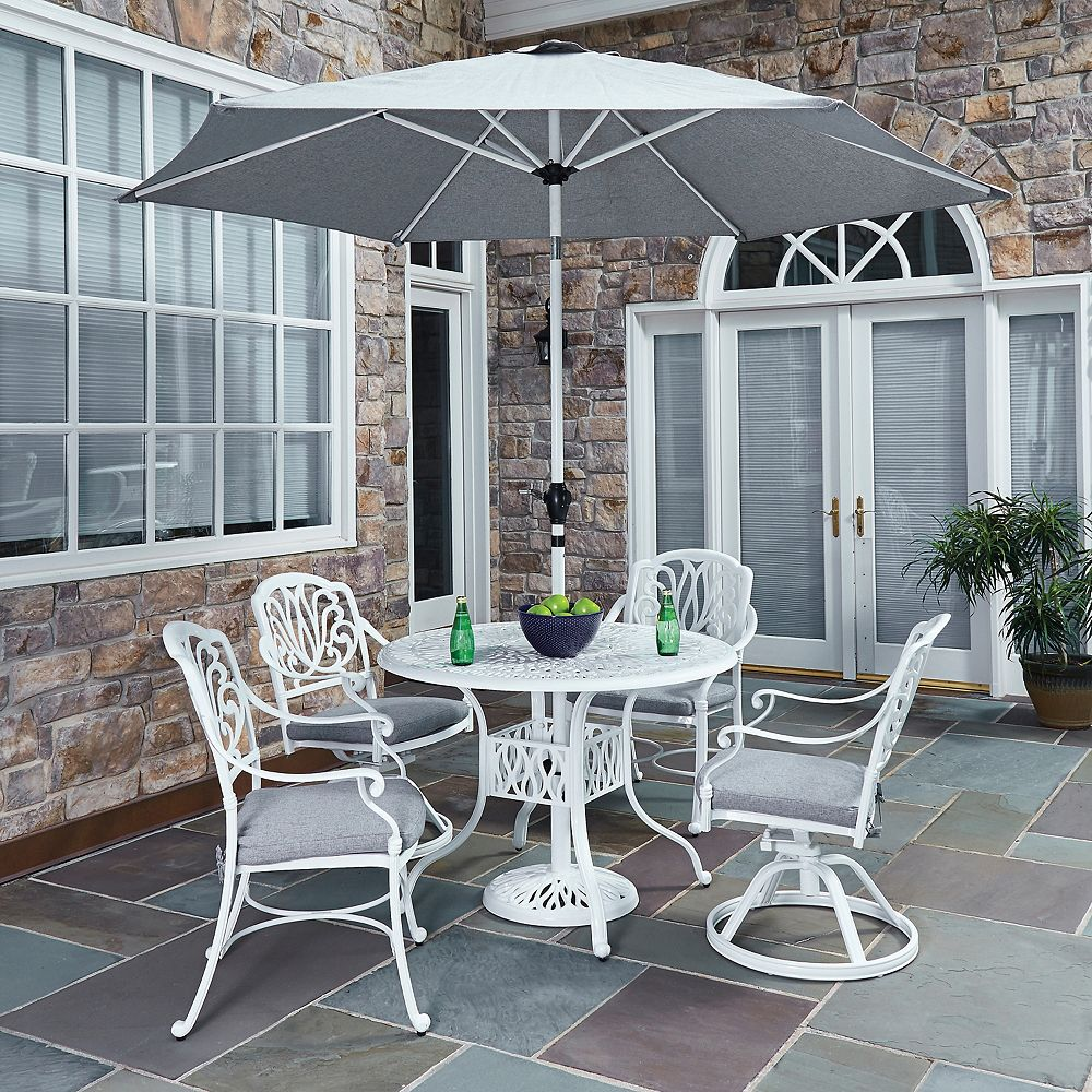 Home Styles Floral Blossom 5-Piece Patio Dining Set with 42-inch Round Table, Chairs & Umbrella in White